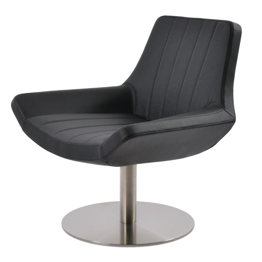 bellagio lounge chair round swivel ssteel base fsoft eco leather black 4jpg