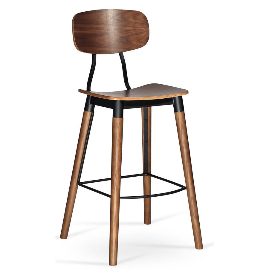 esedra bar plywood walnut veneer seat solid ash walnut finish legs matt black frame 1jpg