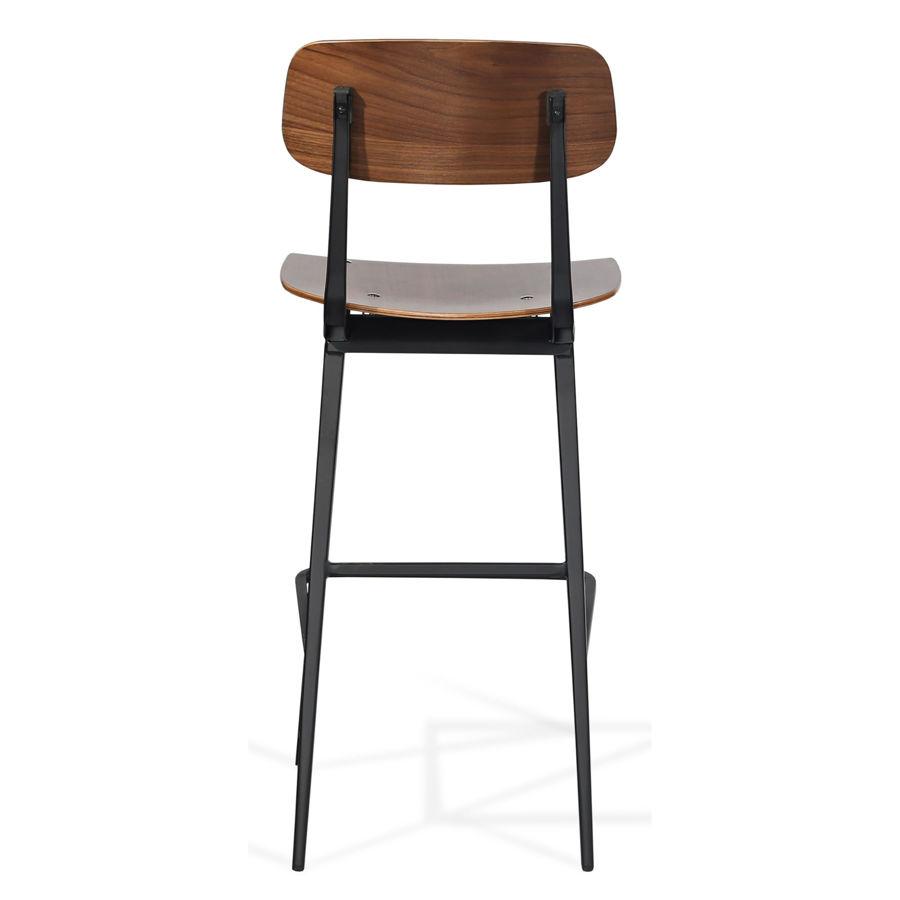 pedrali bar plywood walnut veneer seatback matt black frame 1jpg