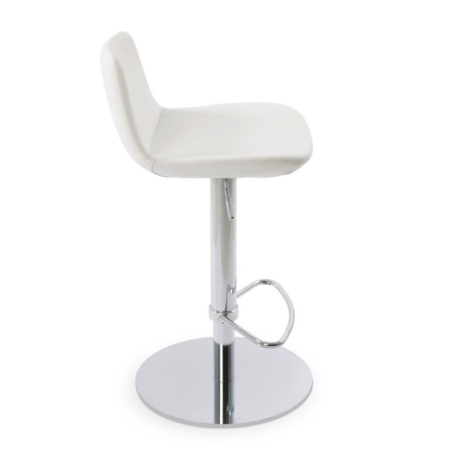 pera piston half footrest polished s steel round base ppm whitejpg