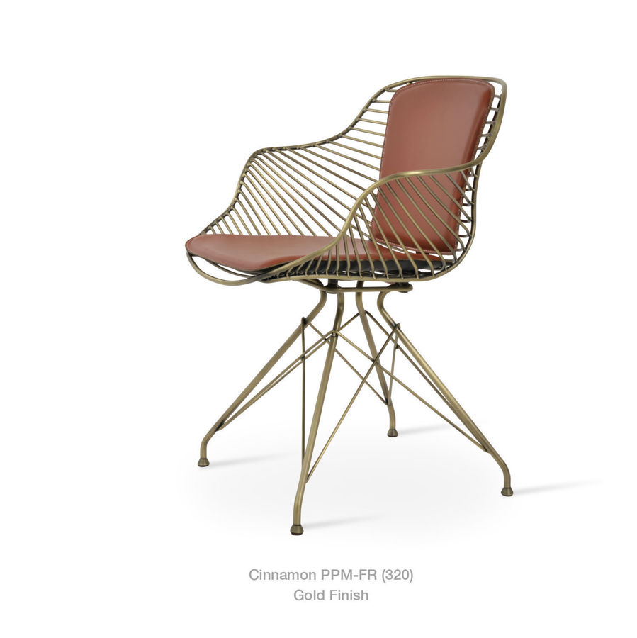 Picture of Zebra  Arm Chair  Brass (Gold) & Chrome