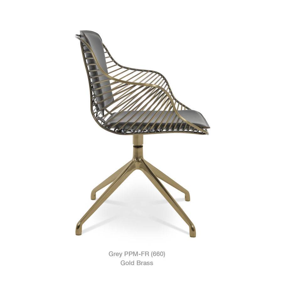 Picture of Zebra Arm Spider Swivel Chair Brass & Chrome